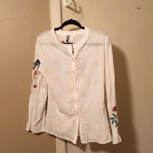 White cotton floral/bird embroderied top